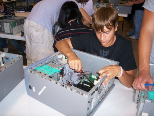 Kid building a computer