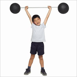 Little kid lifting weights