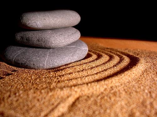 Stones in sand.