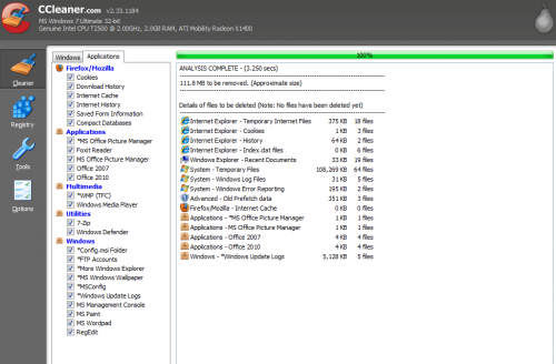 CCleaner after an analysis