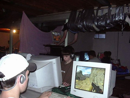A LAN party and the computers they use