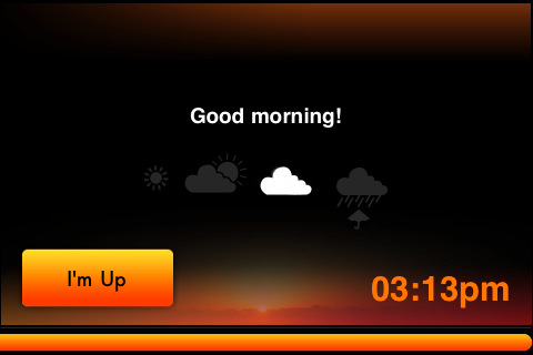 A WakeMate screen capture when your alarm first goes off.