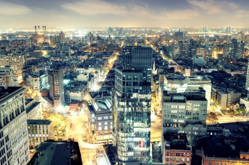 The beautiful East Village/Lower East Side at night. Photo courtesy of Andrew Mace on Flickr.