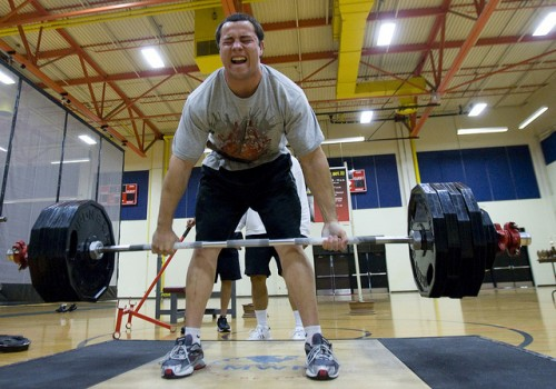 Getting prepared to deadlift 500 lbs! Image courtesy of Joint Base Lewis McChord on Twitter.