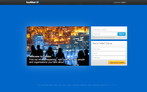 The new welcome screen for Twitter.com