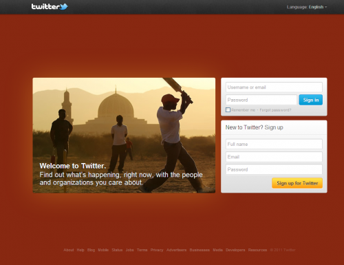 Another new screen of Twitter's homepage.