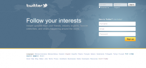 The old welcome screen for Twitter.com