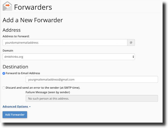 This is how you set up a forwarder for your site